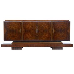 1920s Art Deco Walnut and Birch Large Sideboard