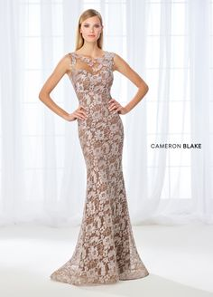 Cameron Blake 118671 - A tale of two dresses, this sleeveless allover beaded lace fit and flare gown features an illusion lace bateau neckline finished with a beaded motif at the left shoulder, a sweetheart bodice, an illusion lace back with a large keyhole, and a sweep train. Prefer sleeves? This style includes detachable illusion lace long sleeves and a matching shawl.