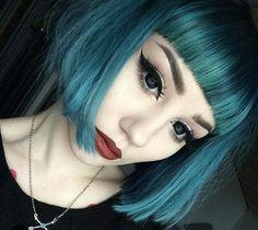 Pastel Goth Fashion / Gothic Girl / Lolita / Black Dress / Jewelry / Pastel Blue Hair / Cosplay // ♥ More at: https://www.pinterest.com/lDarkWonderland/