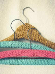 Knit hangers- the ones my grandma made me years ago are still my favorite... love to do them in updated colors