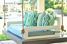 """Laguna"" Daybed Swing FREE SHIPPING ! from Saltaire Restoration #PorchSwing #HangingBedSwing"