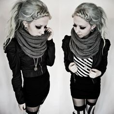Black mini skirt with black jacket and gray scarf