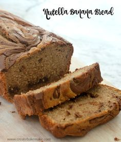 The easy Nutella Banana Bread (based on my favourite easy Banana Bread recipe) which is made even more delicious thanks to the swirls of Nutella throughout. This Nutella Banana Bread is simple to make both regularly or when using a Thermomix Nutella Banana Bread, Homemade Banana Bread, Nutella Cake, Easy Banana Bread, Banana Bread Recipes, Homemade Breads, Delicious Cake Recipes, Easy Cake Recipes, Yummy Cakes