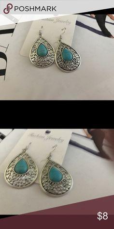 Tibetan Silver Turquoise Earrings Brand new. Tibetan Silver with simulated Turquoise. Paid $10. Jewelry Earrings
