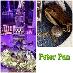 Disney PETER PAN Wedding Centerpiece Disney Centerpieces, Wedding Centerpieces, Peter Pan Wedding, Trendy Wedding, Dream Wedding, Peter Pan Disney, Wedding Themes, Mason Jars, Wedding Reception Themes