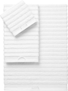 2 bath towels at $30, 2 hand towels at $12.95 - rayon bamboo channel white bath towels  | CB2