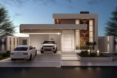 Project of modern house on one level with 3 suites. Small Modern House Exterior, Modern House Facades, Small Modern Home, Modern Architecture House, Bungalow Haus Design, Modern Bungalow House, Bungalow Exterior, Craftsman Exterior, Flat Roof House
