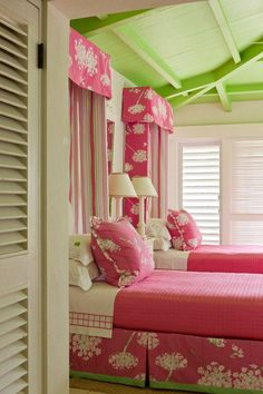 Pretty in pink Lily Pulitzer-colored bedroom.