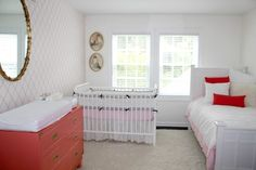 Coral and White Antique-Inspired Girl's Nursery - #ProjectNursery