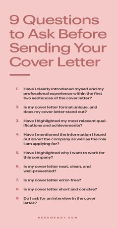 Do you know what to ask yourself before you sending your cover letter. #CoverLetter #CoverLetterTips #CoverLetterQuestions #Career Resume Writing Tips, Resume Skills, Job Resume, Resume Tips, Writing Skills, Job Interview Preparation, Interview Skills, Job Interview Questions, Job Interview Tips