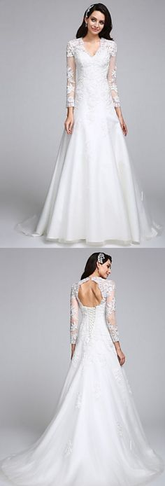 Falling in love with the design from this A-line wedding dress with an open back! Repin if you like it <3
