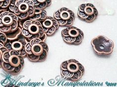 {100} Antiqued Copper Finish Petaled Bead Caps 9mm. Starting at $5 on Tophatter.com!