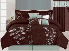 7 Pcs Embroidered Microfiber Comforter Set Brown Aqua Green White King Size