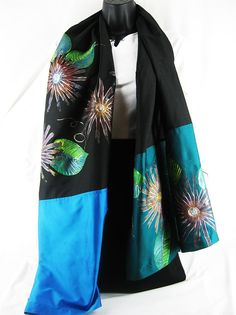 ***** Midnight Express ******    This scarf gives an elegant touch to any outfit by day, and moonlights add a dramatic touch to your ensemble by night. The teal and midnight blue panels lend a rich, yet cool quality that seldom meet; let alone stay together and make for such a beautiful piece!     Women's Hand Painted Summer Scarf by ArachneStyle on Etsy, $55.00