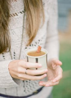 Hot apple cider with a cinnamon stick. I drink this at least once every winter. Get warm and cozy.