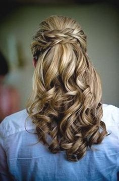 half updo with poof and braid finishing off with gorgeous fluffy curls. half updo with p Up Hairstyles, Pretty Hairstyles, Wedding Hairstyles, Hairstyle Ideas, Bridesmaids Hairstyles, Party Hairstyle, Black Hairstyle, Short Hairstyle, Wedding Hair And Makeup