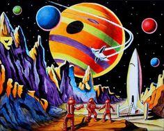 8 1/2 x 11  retro space explorers art print from by wardartstudios