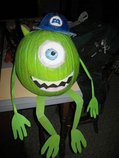Show off your love of Disney-Pixar's Monsters Inc. by painting your pumpkin to look like Mike Wazowski.