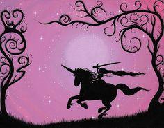 Unicorn Princess silhouette PRINT by FreehandMagic on Etsy