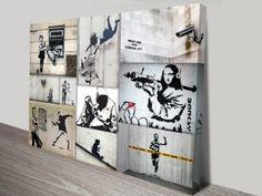Banksy Collage Artwork on Canvas Banksy Canvas Prints, Banksy Wall Art, Banksy Artwork, Collage Artwork, Banksy Artist, Artist Wall, Canvas Prints Australia, Color Collage, Photo Canvas