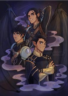 Azriel, Cassian and Rhysand. Art by elenana. A Court Of Wings And Ruin, A Court Of Mist And Fury, Throne Of Glass, Fanart, Character Art, Character Design, Roses Book, Feyre And Rhysand, Baby Bats