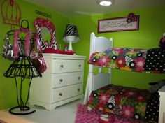 Dakota and Addy's dresser and lamp base from My Twin Doll found on EBay knobs covered w/ duct tape, mini mannequin found at Ross, purses from our old build a bear collection, crown wall hook, pink & zebra framed mirror, lamp shade from Hobby Lobby, make-up tray Breakfast in bed set from AG, wall word art printed on-line glued to wall scrapbook paper.