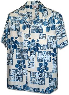 Pacific Legend Men's Hawaiian Shirt 410-3844 [Hibiscus Blocks/White]