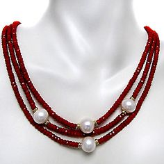 14k Yellow Gold Coral and FW Pearl Necklace