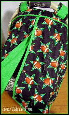 Black and Green Football Baby Boy Car Seat Canopy / Infant Carseat Canopy / Baby Car Seat Canopy