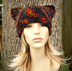 Hand Knit Hat Womens Hat  Cat Beanie Hat in City by pixiebell, $30.00