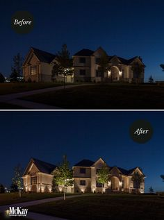 Exterior Home Lighting Before + After. More home lighting ideas in our gallery. Exterior Home Lighting Before + After. More home lighting ideas in our gallery. Boho Lighting, Outdoor Party Lighting, Outdoor Parties, Lighting Ideas, Outdoor Lamps, Driveway Lighting, Facade Lighting, Exterior Lighting, House Lighting
