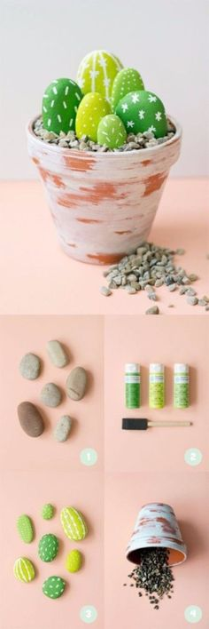 Pebble and Stone Crafts - Painted Cactus Rocks - DIY Ideas Using Rocks, Stones and Pebble Art - Mosaics, Craft Projects, Home Decor, Furniture and DIY Gifts You Can Make On A Budget http://diyjoy.com/diy-pebble-stone-crafts