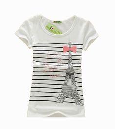 Eifel Tower Print Stripe Shirt :