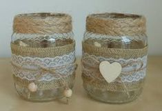 Imagen relacionada Jute Crafts, Diy Crafts For Gifts, Crafts For Kids, Glass Bottle Crafts, Bottle Art, Mason Jar Gifts, Mason Jar Diy, Baby Food Jar Crafts, Decoupage Vintage