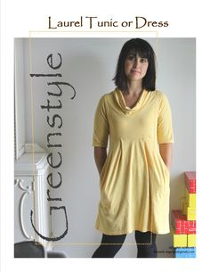 Laurel Dress or Tunic in sizes XXS to 3XL #sewing #pattern #greenstyle