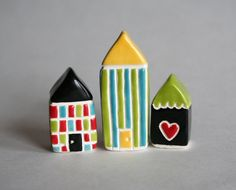 Miniature House Yellow Blue Green Stripes by thelittlereddoor