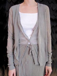 layered superfine knits ~ pas de calais s/s 2012 double cotton / linen cardigan