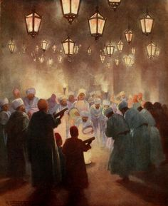 A Zikr at Cairo 1904 ( An Islamic Sufism prayer where by a phrase or expression of praise is repeated continually ) By Robert Talbot Kelly (English , 1861 – 1934) Watercolor on paper