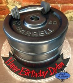 barbell weight lifter cake for groom's cake or birthday cake. cake decorating ideas