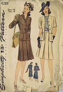 "Simplicity Pattern  Pattern Number 4289  Copyright: 1944    SIZE 16 BUST 34 WAIST 28 HIP 37""    Vintage 40's Misses Jacket and Skirt Pattern    The Jacket buttons snugly to the waistline where darts assure a trim fit.  The neckline may be smartly collarless and finished with a trim, notched collar.  Choose long or short sleeves.  The Skirt pattern is pleated front and back and finished with a belt at the waistline."