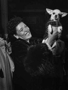 Billie Holiday and her doggie, 1957