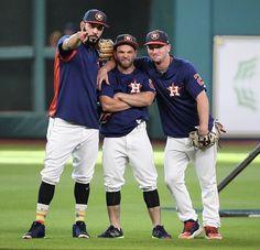 Marwin Gonzalez, Jose Altuve, and Alex Bregman. Baseball Boys, Baseball Players, Astros World Series, Minute Maid Park, Mlb Teams, American League, Houston Texans, Texas Rangers, Dodgers