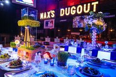 Baseball Theme Bar Mitzvah Party by Showplace Floral Design & Event Decor - mazelmoments.com