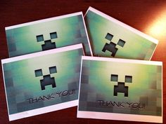 Handmade #Minecraft Thank You Cards