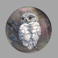HAND PAINTED OWL BIRD NATURAL MOTHER OF PEARL SHELL NECKLACE PENDANT ZP30 00495 #ZL #PENDANT