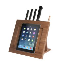 CTA Digital CTA iPad Bamboo Adjustable Kitchen Stand with Knife Storage - Brown Smart Kitchen, Kitchen Items, Kitchen Knives, Kitchen Gadgets, Kitchen Appliances, Ipad Holder, Tablet Holder, Ipad Stand, Tablet Stand