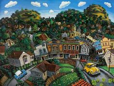 Neat contemporary painting of Auckland by artist  Steven Sacatos.