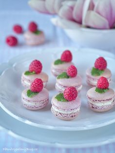 Malinové makronky - Raspberry macarons www.peknevypecenyblog.cz Healthy Dessert Recipes, Fruit Recipes, Sweet Recipes, Delicious Desserts, Cake Recipes, Macarons, Food Vans, Sweet Cookies, Russian Recipes