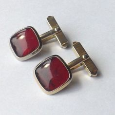 Vintage CUFFLINKS Gold Tone with RED GLASS Faces SIMPLE and BEAUTIFUL! FREE P&P