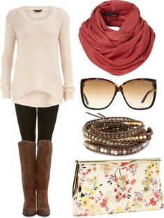 Fall outfit with long boots. A sweet messy bun ...